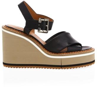 Clergerie Noemie Leather Platform Wedge Sandals