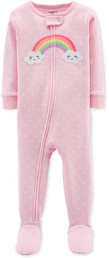 Carter's Carter Baby Girls Rainbow Cotton Footed Pajamas