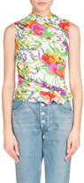 Balenciaga Ruched Sleeveless Floral-Print Top, White/Green
