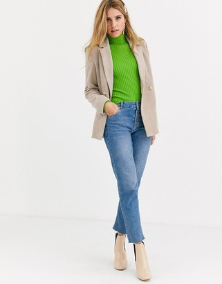 Pieces cord tailored blazer in sand