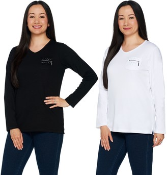 Factory Quacker Set of 2 Long Sleeve T-shirts with Zipper Detail
