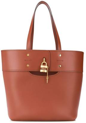 Chloé aby leather tote bag, sepia brown