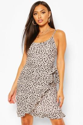 boohoo Animal Spot Print Strappy Wrap Mini Dress