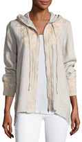 Johnny Was Carmelita Linen Hooded Zip-Front Jacket, Plus Size