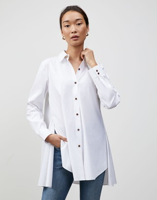 Lafayette 148 New York Plus-Size Stanford Stripe Carolyn Shirt