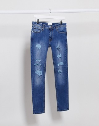 Jack and Jones Intelligence Liam skinny jeans with rips