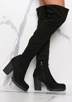 Missy Empire Odette Black Suede Thigh High Heeled Boots