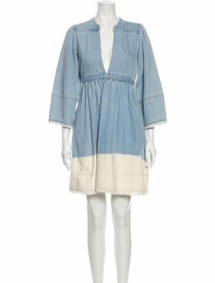 Ulla Johnson V-Neck Mini Dress Blue