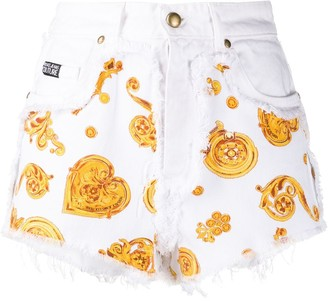 Versace Baroque-Print Denim Shorts