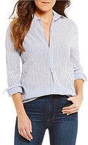 Joe's Jeans Dana V-Neck Long Sleeve Striped Blouse