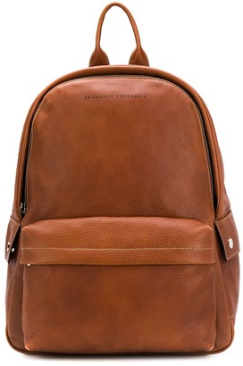 Brunello Cucinelli Logo Zipped Backpack