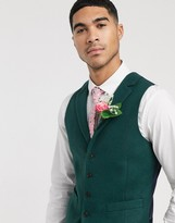Asos Design ASOS DESIGN wedding slim suit waistcoat in wool mix texture in green