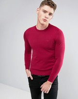 Armani Jeans Crew Knit Jumper Logo Regular Fit In Burgundy