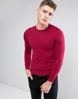 Armani Jeans Crew Knit Sweater Logo Regular Fit in Burgundy