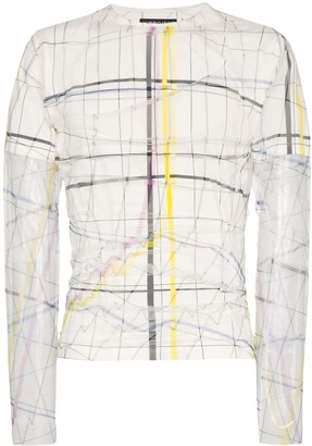 Y/Project sheer-layer line print top