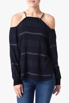 7 For All Mankind Striped Off The Shoulder Blouse In Black And Grey