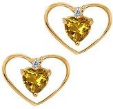 Gem Stone King 0.45 Ct Heart Shape Yellow Citrine and Diamond 14k Yellow Gold Earrings
