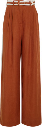 Zimmermann Belted Linen Wide-Leg Pants