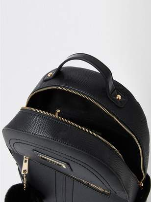 River Island Double Zip Pom Large Backpack - Black