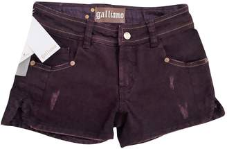 John Galliano Purple Cotton Shorts for Women