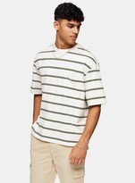 TopmanTopman Ecru and Khaki Boxy Stripe T-Shirt