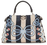 Fendi Mini Peekaboo Studded Stripe Leather Satchel - Blue