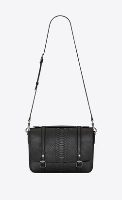 Saint Laurent Schoolbag Satchel In Brushed Python Black Onesize