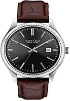 Caravelle New York Men's Silvertone Gray Dial Brown Croco-Embossed Leather Strap Watch