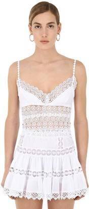 Charo Ruiz Ibiza Cotton Voile And Lace Cropped Top