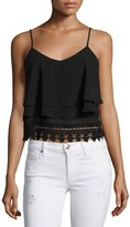Glamorous Layered Lace-Trim Tank Top, Black