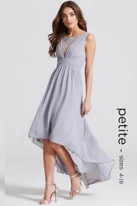 Little Mistress Grey Dipped Hem Maxi Dress