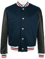 Moncler Gamme Bleu striped trim bomber jacket - men - Cotton/Feather Down/Leather/Cupro - 1