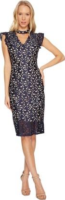 Adrianna Papell Women's Lucy Scroll Lace Ruffle Sheath Dress