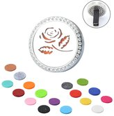 Yaheeda Home Car Air Freshener Clip Aromatherapy Essential Oil Diffuser -Steel Locket with Bling Rhinestones ,17 Refill Pads (With Gift Bag)