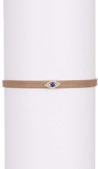 Ef Collection 14K Rose Gold Pave Diamond Evil Eye Station Leather Bracelet - 0.07 ctw