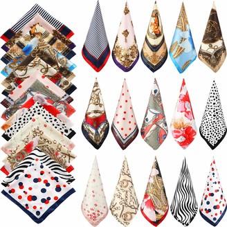 Hicarer 15 Pieces Women Square Neck Scarf Mixed Design Neckerchief Head Wraps Colorful Scarf Bandana (Multi Style)