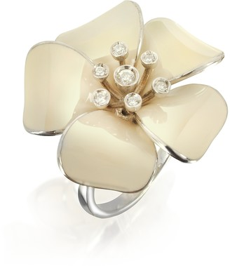 Rosato Sterling Silver and White Enamel Daisy Ring w/Zircons