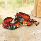 Novica Hand-Crocheted Adjustable Length Beaded Wristband Bracelets, Pair, 'Bold Fortunes'