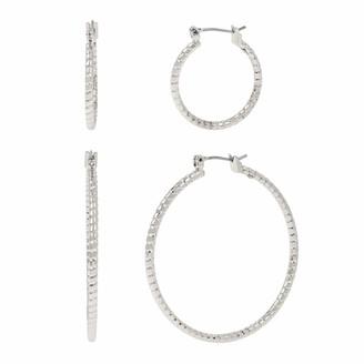 Kenneth Cole Diamond Cut Hoop Earrings Set