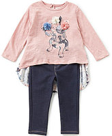 Jessica Simpson Baby Girls 12-24 Months Solid/Floral Top and Denim-Look Knit Jeggings Set