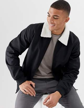 French Connection Harrington Borg Collar Jacket-Black