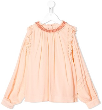 Chloé Kids Lace Trimmed Blouse