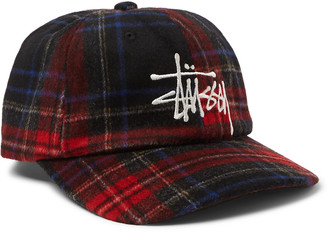 Stussy Logo-Embroidered Checked Flannel Baseball Cap