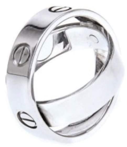Cartier EN5233 18k White Gold Ring Size 54