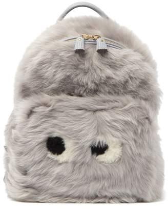 Anya Hindmarch Mini Eyes Right In Genuine Shearling Backpack