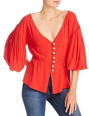 Mother of Pearl No Frills By No Frills by Bishop Sleeve Peplum Top with Faux Pearl Buttons