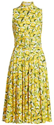 Michael Kors Belted Peplum Lemon-Print Cotton Shirtdress