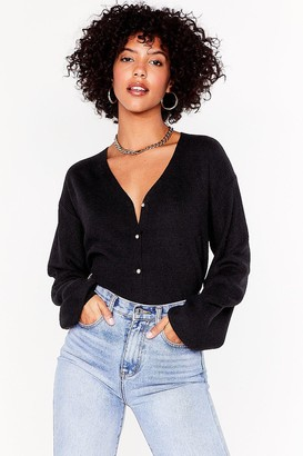 Nasty Gal Womens Pearl Talk Ribbed Knit Cardigan - black - L