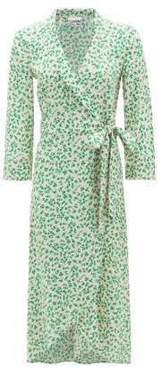 Ganni Blouson-sleeve Floral-print Crepe Wrap Dress - Cream Print