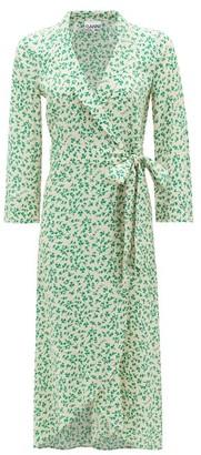 Ganni Blouson-sleeve Floral-print Crepe Wrap Dress - Womens - Cream Print